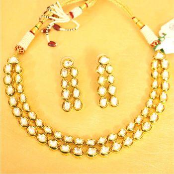 Kundan Meenakari Gold Look Necklace Set