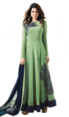 Green georgette embroidered  semi stitched salwar with dupatta