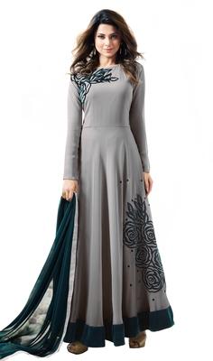 Grey georgette embroidered  semi stitched salwar with dupatta