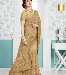 Buy Gold plain net saree with blouse party-wear-saree online