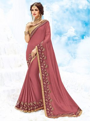 Dark red plain chiffon saree with blouse