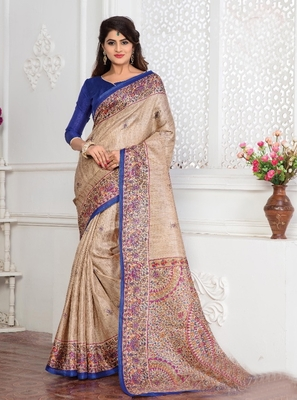 multicolor plain khadi saree with blouse