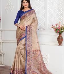 multicolor plain khadi saree with blouse art-silk-saree