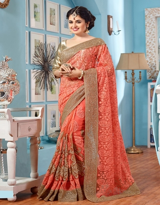 7eb44d5eb80 Coral embroidered net saree with blouse - Tiana Creation - 2575523