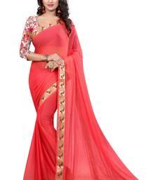 Red plain nazneen saree with blouse