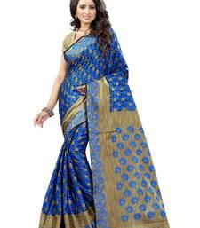 Buy Light blue brasso saree with blouse brasso-saree online