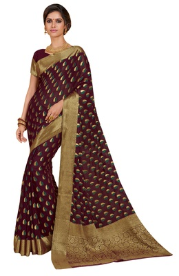 Brown woven chiffon saree with blouse