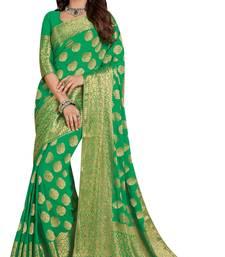 Buy Green woven saree with blouse art-silk-saree online