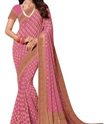 Buy Pink woven chiffon saree with blouse women-ethnic-wear online
