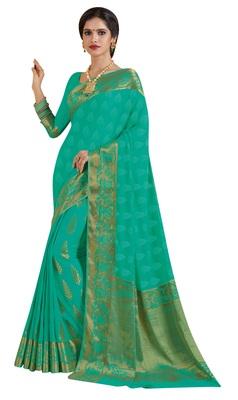 Green woven chiffon saree with blouse
