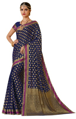 Blue Woven  Saree With Blouse
