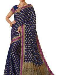 Buy Blue woven  saree with blouse art-silk-saree online