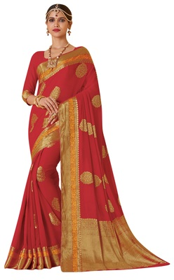 Red Woven Saree With Blouse