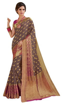 Grey Woven Saree With Blouse