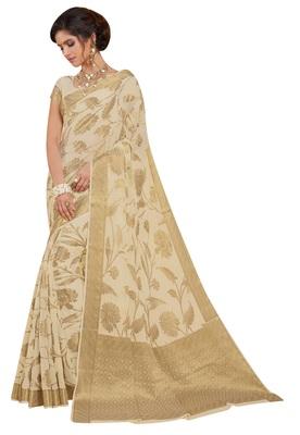Cream Woven Chiffon Saree With Blouse