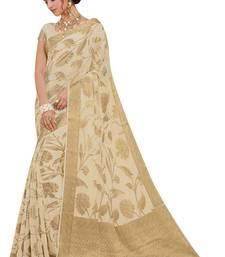 Cream woven chiffon saree with blouse pongal-dhoti-saree