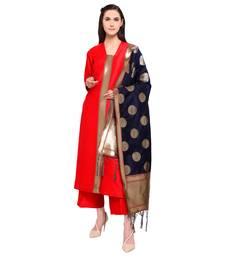 Buy Red Marubeni Silk Semi-Stitched Salwar Kameez With Banarasi Silk Woven Dupatta palazzo online