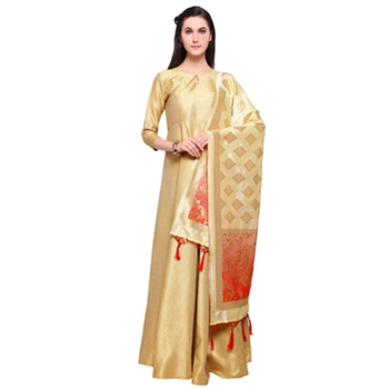 Gold Marubeni Silk Semi-Stitched Gown With Banarasi Silk Woven Stole