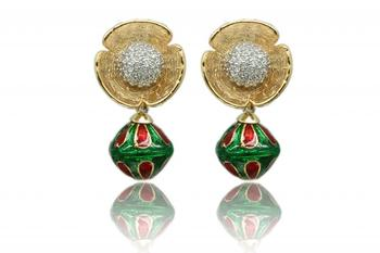 Emerald Gold Rhodium Polish Plated Earrings