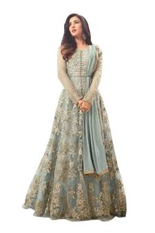 47e89469ea Progress 4cc28d84d76fcb9210fe43f7ac15eb975cd0845b972ae4a79b1d0ad72de0bd8e.  Grey color embroidered work designer net Anarkali Suit