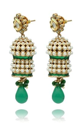 Green Gold Polish Plated Danglers