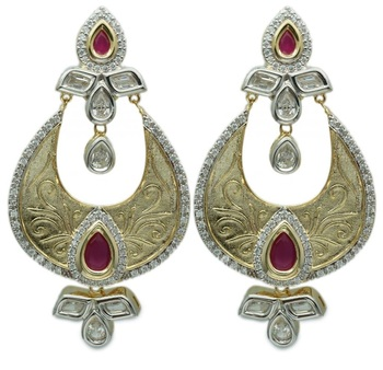 Matte Gold With Ruby Stone Danglers