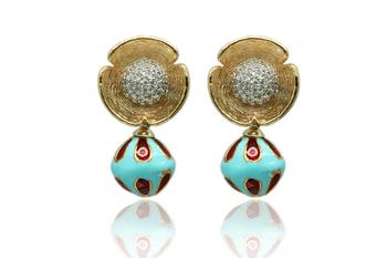 Red And Blue Gold Dangler Earrings