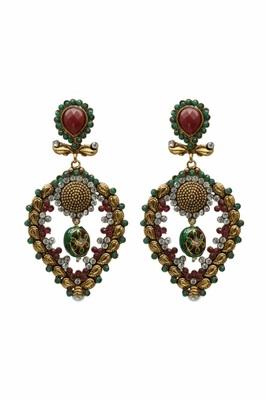 Red And Green Dangler Earrings