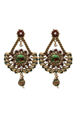 Red And Green Traditional Earrings