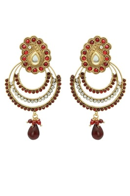 Red Rinestones Gold Plated Earrings