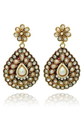Red Stones And Gold Polish Plated Earrings