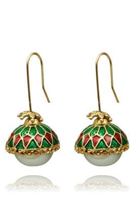 Multi-coloured pearl earrings