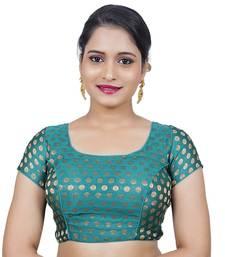Rama Green Brocade Wedding Wear Padded Readymade Saree Blouse