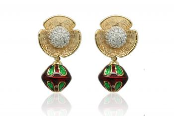 Ruby & Emerald Gold Rhodium Polish Plated Danglers