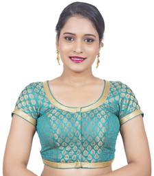 Brocade Rama Green Short Sleeve Padded Readymade Saree Blouse