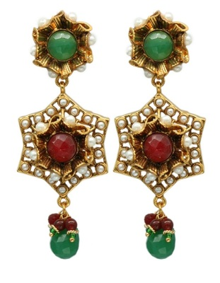 Ruby And Emerald Gold Danglers