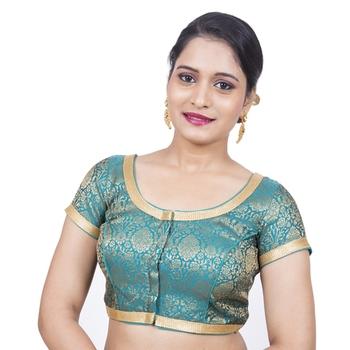 Brocade Rama Green Short Sleeve Designer Padded Readymade Saree Blouse
