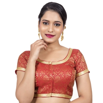 71c6db221edc89 Red Brocade Designer Cap Sleeves Padded Readymade Saree Blouse - PARESH  CHHEDA - 2578031