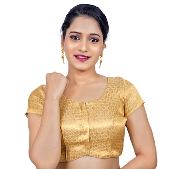 Designer Gold Brocade Padded Readymade Saree Blouse