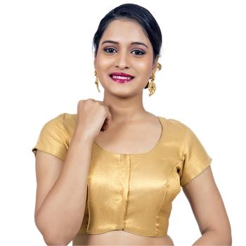 Gold Brocade Designer Cap Sleeves Padded Readymade Saree Blouse