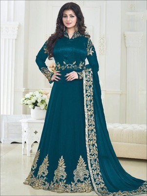 110693b5976 Peacock green poly georgette heavy embroidery semi stitched anarkali suit  with dupatta - Zoharin - 2578088