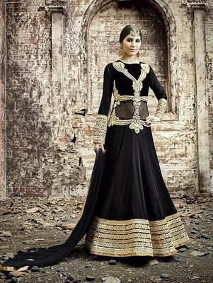 Designer black and golden embroidered georgette semi stitched wedding wear fancy anarkali suit