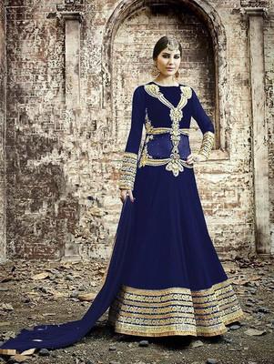 Designer blue and golden embroidered georgette semi stitched wedding wear fancy anarkali suit