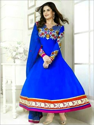 Blue and multicolor  party wear semi stitched georgette aanarkali suit