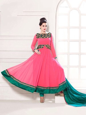 Brightpink and seagreen party wear georgette semi stitched anarkali suit