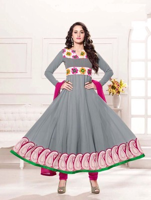 Gray and magenta party wear georgette semi stitched anarkali suit