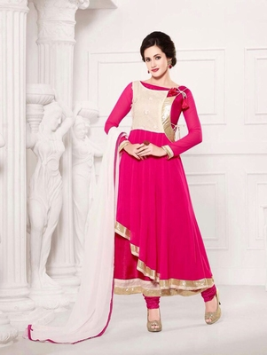 Brightpink and white  party wear georgette semi stitched anarkali suit