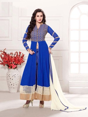 Blue and white  party wear georgette semi stitched anarkali suit