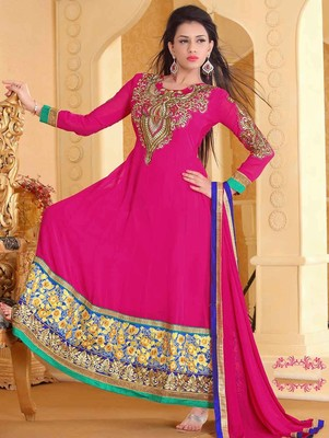 Magenta Designer Georgette Semi Stiched Anarkali Suit