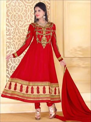 Red designer georgette semi stitched anarkali suit